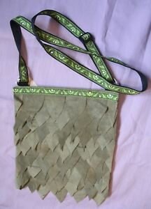 Handmade Dragon Scale Green Suede Bag Pagan Wicca Wiccan Hippy Boho Steampunk