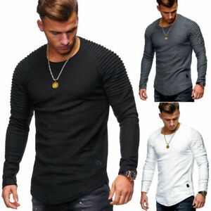 Men's cotton long-sleeved bottoming shirt casual slim-fit pleated raglan sleeve
