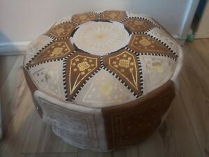 Moroccan pouffe Leather Brown Cream seating ottoman poufe New with Defects