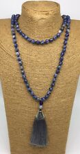 Free Shipping Fashion Long Knot Beads Blue sodalite w tassel Necklace Handmade