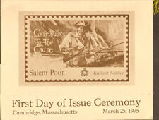 #1560 First Day Ceremony Program 10c Salem Poor Stamp w/FDC Cambridge