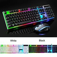 LED Backlight Wired Gaming Keyboard Mouse Kit Gamer Combo RGB 1600DPI For PC USA