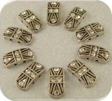 2 Hole Beads Marcasite Tablets Clear Swarovski Crystal Elements Sliders QTY 10