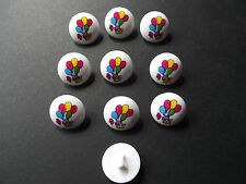 10 x WHITE with BALLOONS MOTIF BUTTONS ~ Size 24L (15MM) BABIES/CRAFT