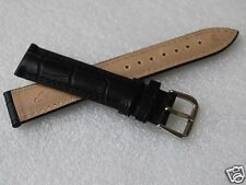 Nice New 18MM Black Color Croco Grain Genuine Leather Watch Band
