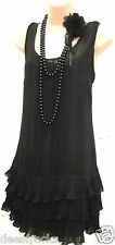SIZE 10 20s CHARLESTON DECO FLAPPER GATSBY STYLE FRILLED BLACK DRESS US 6 EU 38