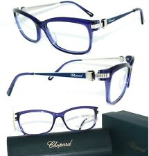 CHOPARD BRILLE VCH139 BLAU 23Kt WEISS GOLD HAPPY DIAMONDS KRISTALL  KETTE DAMEN