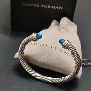 David Yurman Blue Topaz Silver 14K gold Cable Cuff Classic Bracelet