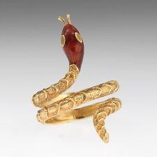 Designer 18k Yellow Gold Enamel Snake Ring /Enamel Snake Ring/Gold Enamel Ring