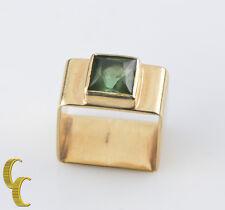 Cartier Vintage 18k Yellow Gold Dinh Van Square Tourmaline Modernist Ring Sz 4.5