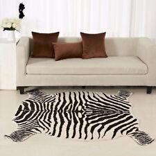 Zebra CowHide Animal Printed 4.9'X4.8' Faux Fur Rug Mat Carpet Blanket Washable