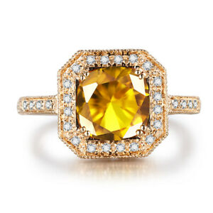 Pave&Prong 3.2CT Round Citrine Natural Diamond Wedding Fine Ring 10K Yellow Gold