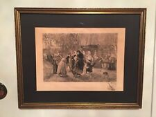 Antique Amazing 1825 Etching Pencil Signed  Russian village and Russian Women