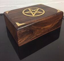 Polished Hand Crafted Wooden Jewellery Watch Box with Pentagram Design SH-167