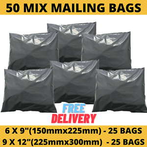 50 MIXED MAILING CHEAPEST BAGS GREY PARCEL PACKAGING  6 x 9 and 9 x 12 SIZE UK