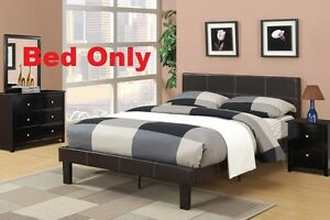 One Piece Espresso Finish Full Size Bed Faux Leather Bedframe Bedroom Furniture