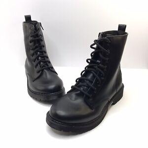 Time & Tru Women's Memory Foam Size 8 Wide Lace Up, Side Zipper Boot, Black