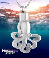New Octopus Ocean Crystal Cremation Urn Keepsake Ash Silver Memorial Necklace