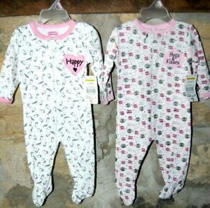 Girl Size 3/6 Months Sleeper Pajamas Pink hugs hearts new NWT set of 2 B2