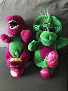 Barney And Baby Bop Dinasaur Plush Stuffed Animal Vintage Dakin 1992 PBS TV Show