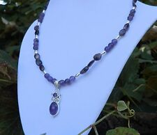 """18"""" Handmade Purple Amethyst Necklace with Sterling Silver Amethyst Pendant"""