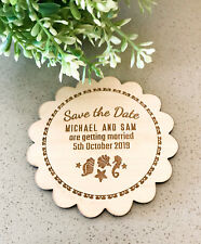 Engraved Wooden Wedding Save the Date Round Style w/ Magnet