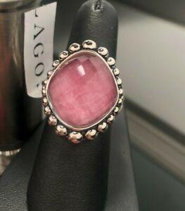 LAGOS Caviar Sterling Silver Maya Rhodochrosite Doublet Pink Ring Size 7