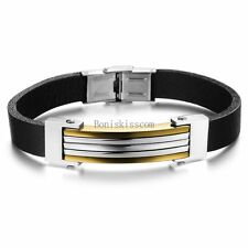 Silver Gold Tone Stainless Steel Black Leather Cuff Bracelet Wristband for Men