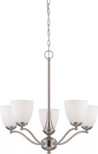 Nuvo 60/5035 Patton Chandeliers 25in Brushed Nickel Iron Frosted 5-light