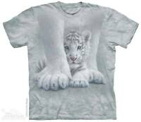 WOMEN'S T-SHIRT TIGER SHELTERED STONEWASHED MULTICOLORED GRAPHIC TEE SIZE LARGE