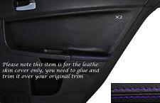 PURPLE Stitch 2x POSTERIORE PORTA CARD Trim pelle copertura Si Adatta Mitsubishi Lancer Evo X 10