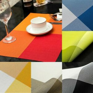 4x Kitchen Table Cup Bowl Placemat Rectangle Tableware Pad Mat Heat Resistant
