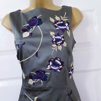 COAST Green Floral Embroidered Satin Pencil Dress Evening Occasion Wedding UK 12