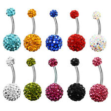 1PC Surgical Steel Belly Button Ring Dangel Navel Ring Crystal Body 14G Piercing