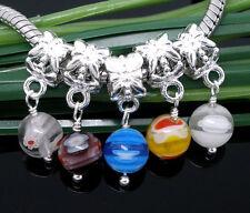 10Mix Versilbert European Glasperlen Dangle Bead B05958