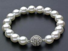 """AAAA 10mm white South Sea Shell Pearl Bracelet 7.5"""" Magnet clasp"""