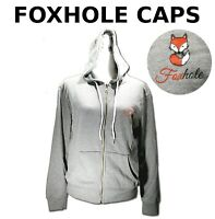 MED GRAY Hoodies Long Sleeve Gray Full Zip Up Foxhole Caps Comfortable Soft Warm