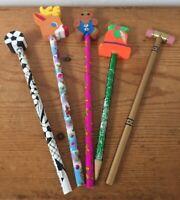 Mixed Lot 5 Vtg #2 Pencils Lisa Frank Designs US Supreme Court Festive Erasers