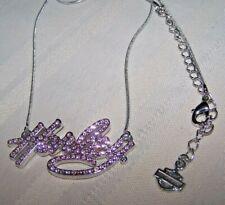 Harley Davidson -HARLEY- Pink Silver Crystal Rhinestone Pendant Necklace
