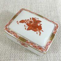Herend Porzellan Schmuckkästchen mit Deckel Rechteckig Apponyi Orange Chinesisch