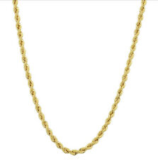 Italian 10K Yellow Gold Hollow Rope Chain Necklace 20 Inch  2.1mm