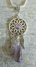 DREAM CATCHER AMETHYST GEMSTONE DROP ANGEL WING PENDANT CHARM ON SP NECKLACE