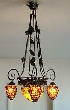 Art Deco Deckenlampe ~1920-1930 Glas Blumen Weintrauben Antik Kronleuchter  Lamp