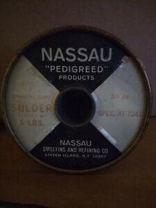 Nassau Solder 50/68 Spec At 7241 (5lbs) Stearine Core (New Old Stock) Vintage