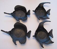 Black Molded Metal Japan Tropical Fish Design Trinket Tray Decor Set of Four (4)