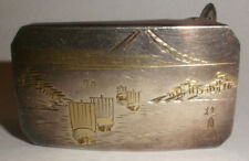 Antique Japanese 950 Silver with Gold, Mt. Fuji Boat Scene Belt Buckle signed