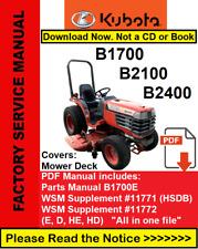 Kubota Manual B1700 B2100 B2400 Repair Service Workshop Manual B1700E Parts List