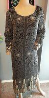 Vtg Floral Stripe Black Silver 80's does 20's Beaded Silk Trophy Dress S