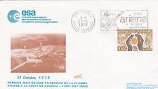 Enveloppe ESPACE LOLLINI N° K131A  ARIANE Premier Jour de la FLAMME 27/10/1978