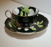 Vtg Princess China Occupied Japan Tea Cup and Saucer,Black w/Pink Flower
